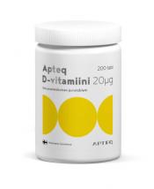 Apteq D-vitamiini 20 µg 200 tabl.