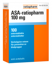 ASA-ratiopharm 100 mg enterotabletti 100 läpipainopakkaus