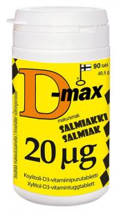 Löytö! D-max 20 µg 90 tabl. salmiakki (parasta ennen 8/21)