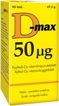 D-max 50 µg 90 tabl Mansikka-Vadelma