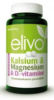 Elivo Kalsium & Magnesium & D-vitamiini -yhdistelmävalmiste 80 purutabl.