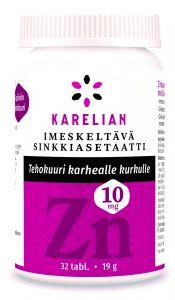 Karelian imeskeltävä sinkkiasetaatti tehokuuri karhealle kurkulle Zn 10 mg 32 tabl.