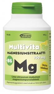 Multivita Magnesiumsitraatti +B6 lime-sitruuna 90 purutabl.