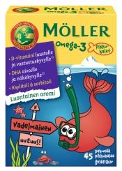 Möller Omega-3 Pikkukalat Vadelmainen 45 kpl
