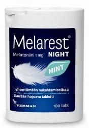 LÖYTÖ! Melarest Night Mint 1mg melatoniinivalmiste 100tabl