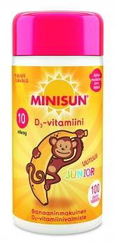 Minisun D-Vitamiini Junior Apina 100 purutabl.