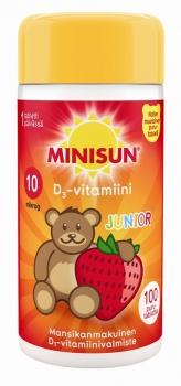 Minisun D-Vitamiini Junior Nalle 100 purutabl.