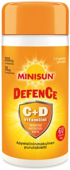 Minisun Defence C + D -vitamiini 60 purutablettia