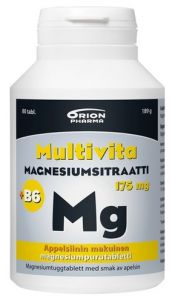 Multivita magnesiumsitraatti +B6 appelsiini 175 mg/2 mg 80 purutablettia