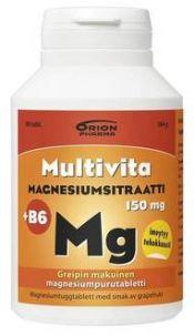 Multivita Magnesiumsitraatti +B6 greippi 90 purutabl.