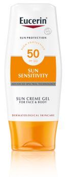 Eucerin Sun Sensitivity Cream Gel Face&Body SPF50 150ml - aurinkoihottuma/aurinkoallergiselle iholle sopiva