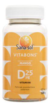 Sana-Sol Vitabons D-Vitamiini 25 µg Mango 60 kpl